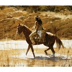 The Captain's Horse - Indian brave showing off new mount by western artist Howard Terpning
