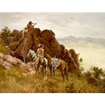 Far Seeing Glass - Indian war party with telescope by western artist Howard Terpning