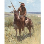 Young Scout - Indian on horseback by artist Z. S. Liang