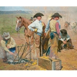 In the Dust of Days Past - Cowboys branding cattle by Bruce Greene