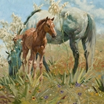 Springtime on the Llano Estacado - mare with colt by Bruce Greene