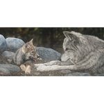 The Lesson - Wolf with pup by artist Judy Larson