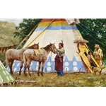 The Family Home - painted tipi by western artist Howard Terpning