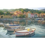 Rio Marina - harbor on the island of Elba, Italy by landscape artist June Carey