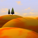 Toscana I - abtract digital golden hills by Cynthia Decker