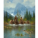 ~ Land of the Tetons - cowboys lead packhorses through river by G. Harvey