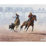 Joint Custody - roping a steer by artist Jim Rey
