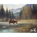 Moose Creek (complete with moose) by western artist Jack Terry
