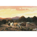 Evening Glow - cowboy with remuda by western artist Tim Cox