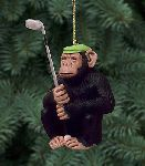 the chimp shot  - Christmas ornament - golf humor by Will Bullas