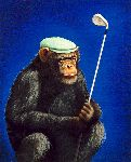 The Chimp Shot - Golfer by humor artist Will Bullas