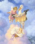 Special Delivery - Stork brings baby by fantasy artist Scott Gustafson