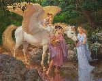 Pegasus and the Muses - Illustrated Greek fable by artist Scott Gustafson