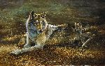 Cops & Robbers - mother wolf and pups by wildlife artist Bonnie Marris