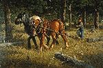 Skidding Logs - Horse Team by Montana artist Tucker Smith