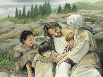 Let the Children Come - Jesus playing with group of children by religious artist Liz Lemon Swindle