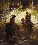 Crossing Medicine Lodge Creek by Howard Terpning