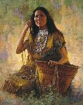 Isdzan - Apache Woman by western artist Howard Terpning