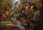 Opening the Sacred Bundle by western artist Howard Terpning