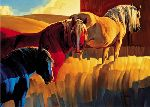 Primary Colors - Horses by western artist Nancy Glazier