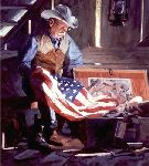 Colors of Courage - Tribute to those who serve by western artist Bruce Greene