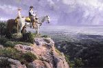 On God's Footstool - Cowboys Overlooking Valley by western artist Bruce Greene