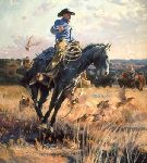 Flushed - Cowboy scares up covey of bobwhite by western artist Bruce Greene