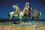 Night Signs - Indians riding at night by western artist David Mann