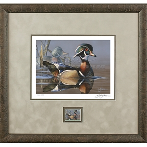 2019 Federal Duck Stamp COLLECTOR EDITION - Wood duck and Decoy by Scot Storm