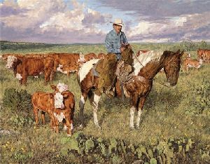 Vespers - Cowboy with cattle by artist Bradley Schmehl